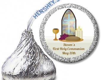 Communion Collage  - First Holy Communion Personalized Hershey Kiss Stickers - Cross Communion Party Chocolate Favor Labels