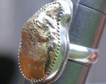 Brass 'nugget' in sterling silver