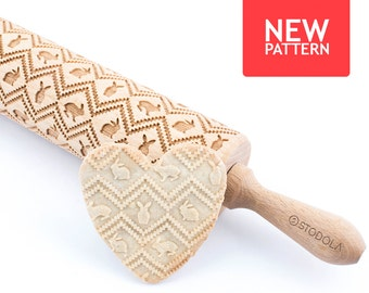 Easter bunny - Engraved rolling pin for cookies