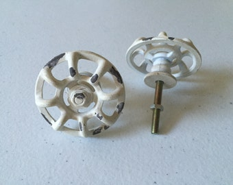 White light cream color faucet knobs, set of two sale