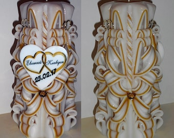 Personalized Custom Gold Wedding candle - Anniversary gift - Unique handmade gift candle - Hand Carved candles 8.7 inch/ 22cm