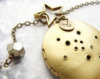 Personalized jewelry Taurus Constellation Necklace, Zodiac locket necklace, Horoscope pendant April May birthday