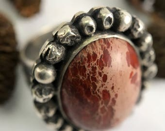 Rustic Ring, Size 10 1/4 Ring, Sterling Silver Ring, Red Ring, Jasper Ring, Rustic Jewelry, Boho Ring, Organic Ring, Earthy, Artisan, Silver