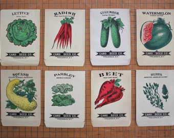 8 Vintage Unused Lithograph Vegetable Seed Packets Card Seed Co.