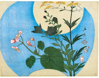 Hand-cut wooden jigsaw puzzle.  FLOWERS & FULL MOON. Hokusai. Japanese woodblock print. Wood, collectible. Bella Puzzles.