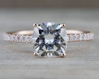 14k Rose Gold Solitaire Cushion Cut Moissanite Diamond Engagement Ring Charles & Colvard 5.5mm