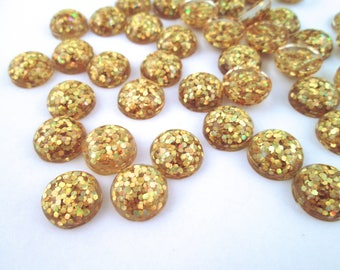 10 12mm Gold Resin Glitter Cabochons, mixed color cabs H303