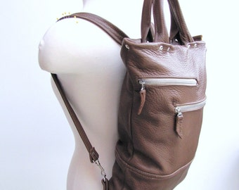 Clearance SALE - Unisex tan leather backpack and briefcase convertible messenger bag