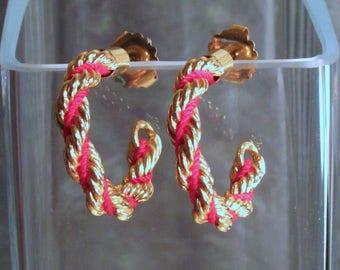 Avon Color Twist Hoop Earrings - Twisted Red and Gold Hoops - Post Hoop Earrings - Vintage 1992