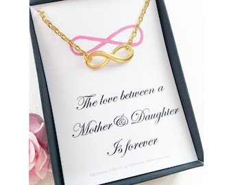Infinity necklace, Gift for daughter, Gift for mother, infinity symbol necklace, message card necklace, birthday gift , christmas gift