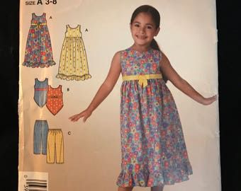 Simplicity It's So Easy Pattern 3860 Child's Dress, Top And Pants Size A 3-8