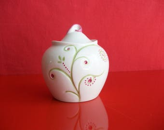 """Sugar Bowl decorated with """"Flowers"""", jam, decorated with """"Flowers"""", sugar or confiturier porcelain, hand painted sugar bowl, tableware"""