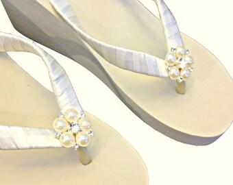 Bridal Flip Flops Wedge -  Wedding Wedge Flip Flops - Platform Flip Flops -  Beach Wedding - Ivory Wedge Flip Flops - Jangles