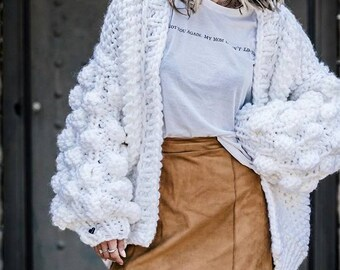 Hand made bubbless woman cardigan fluffy sweater knitted pullover chunky knitted cardigan cardigan jumper bomber jacket oversized jacket