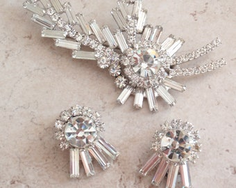 Clear Brooch Earring Set Juliana D&E Delizza and Elster Vintage 110416RC
