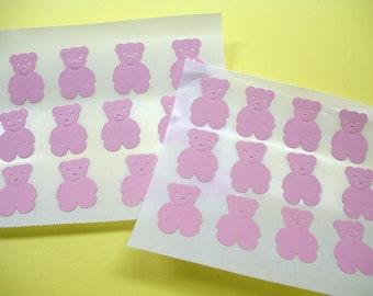 TEDDY BEAR envelope STICKER Seals Pink for Baby Shower Set of 24