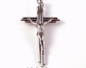 Modern Line Three Bar Rosary Crucifix | Italian Rosary Parts Religious Medals