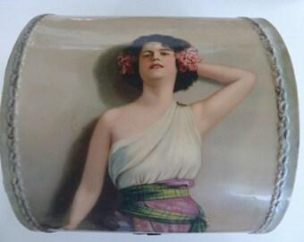 1900's Victorian Celluloid collar box, dresser box, Vanity box