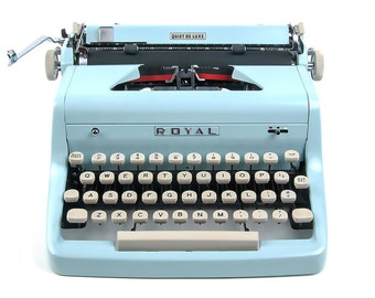 1955 Blue Royal Typewriter / Quiet Deluxe with Original Case and Vintage Metal Ribbon Spools