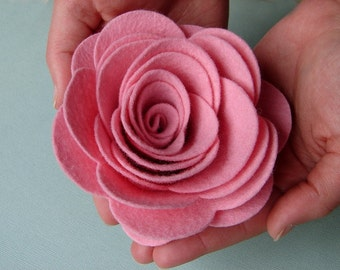 "Wool Felt XXX Large Posies 4""  - Dimensional Flowers Set of 4"