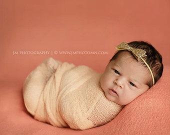 Gold Glitter Hair Bow Headband Newborn Photo Prop Baby Girl Headbands Holiday Headband Christmas Baby Headbands