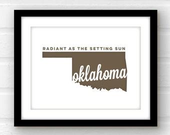 Oklahoma state print   Oklahoma wall art   Tulsa Oklahoma art   Oklahoma city   Stillwater, OK   Oklahoma print   state pride