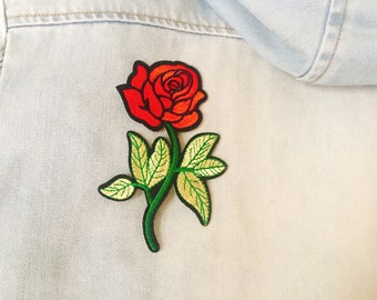 rose with leaves patch,iron on patch,embroidered patch ,jacket patch ,flower patch