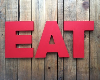 """EAT sign, 10"""" tall wooden sign, home decor, word art, handwritten,cursive, typography, wood sign,  Eat kitchen sign"""