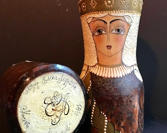 Vintage Russian Hand Painted Matryoshka Wood Bottle Container Nesting Doll Wine  Holder.