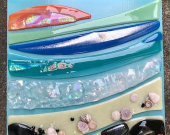 Big Island Bliss Glass Wall Hanging Shelly Batha Hawaii Island Fused Glass