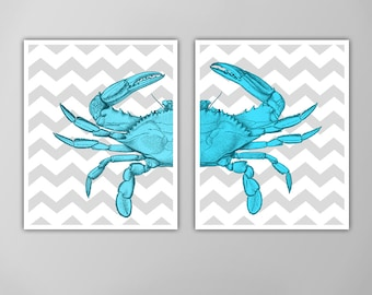 Chevron Crab Print Set, Nautical Art Prints, Crab Prints, Nautical Art Blue Crab, Bathroom Decor, Crab Prints, Prints for Bathroom, Chevron