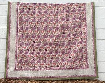 Indian Hand-block Printed Floral Bedspread