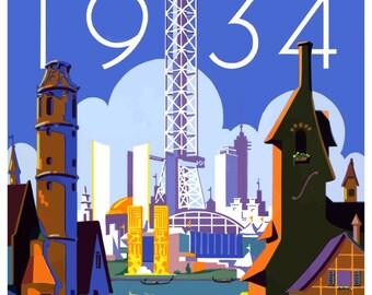 Vintage 1934 Chicago Worlds Fair Travel Poster Print