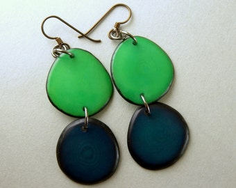 Parakeet Green and Navy Blue Tagua Nut Eco Friendly Earrings with Free USA Shipping #taguanut #ecofriendlyjewelry