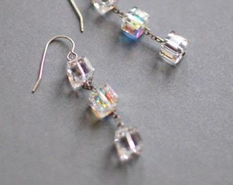 Trio, Glace : Stacked Cube Swarovski Crystal Earring