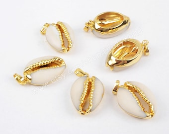 Wholesale Gold Plated Dark White Natural Cowrie Shell Pendant Bead Sea Shell Beach Shell Pendants Handmade Gemstone Making Jewelry G1295