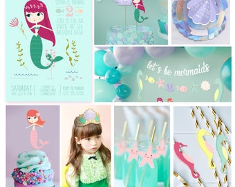 INSTANT DOWNLOAD - Mermaid Party Decorations - Mermaid Party Decor - Instantly Download and Edit at home with Adobe Reader