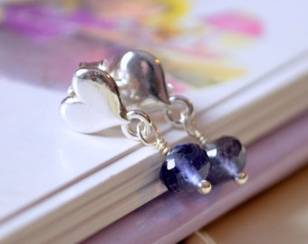 Iolite Water Sapphire Earrings, Genuine AAA Gemstone, Children Girl, Sterling Silver Heart Ear Posts, September Birthstone Jewelry
