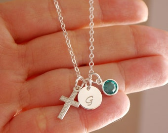 Personalized Cross Necklace, Sterling Silver Cross Necklace, Initial Birthstone Cross Necklace, First Communion Gifts, Dainty Cross Jewelry