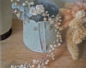 Wedding Headband Bridal floral crown  AMY , silver, hair vine, crystal, flowers, peachy pink, soft green Made to Order