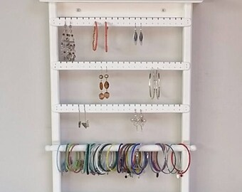 Wall Mount Jewelry Organizer, Earring Holder, Jewelry Holder, Jewelry Display, Earring Storage, Jewelry Rack, Necklace Storage, Earring Rack