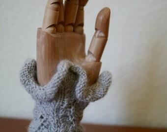 Ruffled, Vine Lace Wrist Warmers Knitting Pattern PDF
