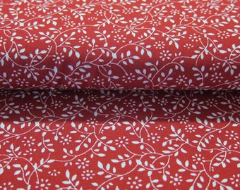 White leaves on red Japanese fabric