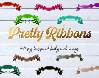 Metallic Ribbons, Decorative Ribbons Clipart, Shimmer Ribbons, 40 PNG Transparent Background Images, Commercial Use, BUY7FOR10