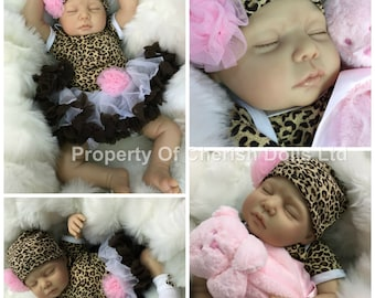 """Reborn doll girl 22"""" Lola newborn size rooted eyelashes 3/4 limbs heat paints real realistic  my fake baby"""