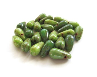 Avocado Green Czech Glass Long Briolettes with Picasso Finish, 13mm x 6mm - 25 pieces