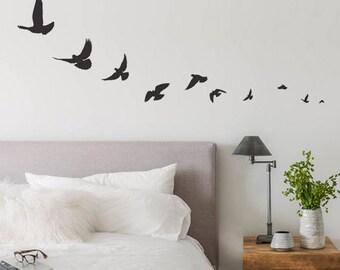 Bird Wall Decals, Bird Decal, Flying Bird Decals, Simple Bird Vinyl Wall Decal,  Sparrow, swallow birds, Bird Stickers, Flying Bird Sticker