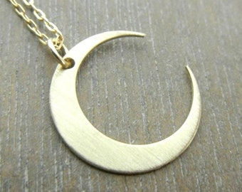 Gold Moon Necklace - MIDNIGHT in GOLD Crescent Gold Filled Simple Necklace