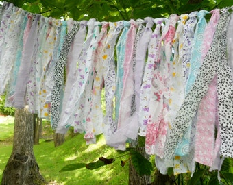 Rag Tie Garland, Rag Fringe Garland, Fabric Garland, Tea Party, Shabby Chic Garland Farmhouse Wedding Photo Prop