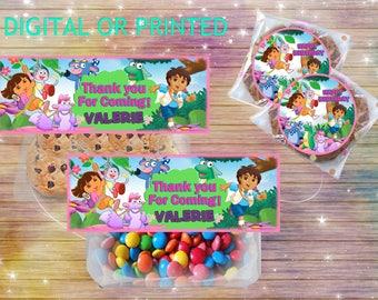 Dora the explorer candy topper- favor bag topper - free sticker sheet- digital file or printed